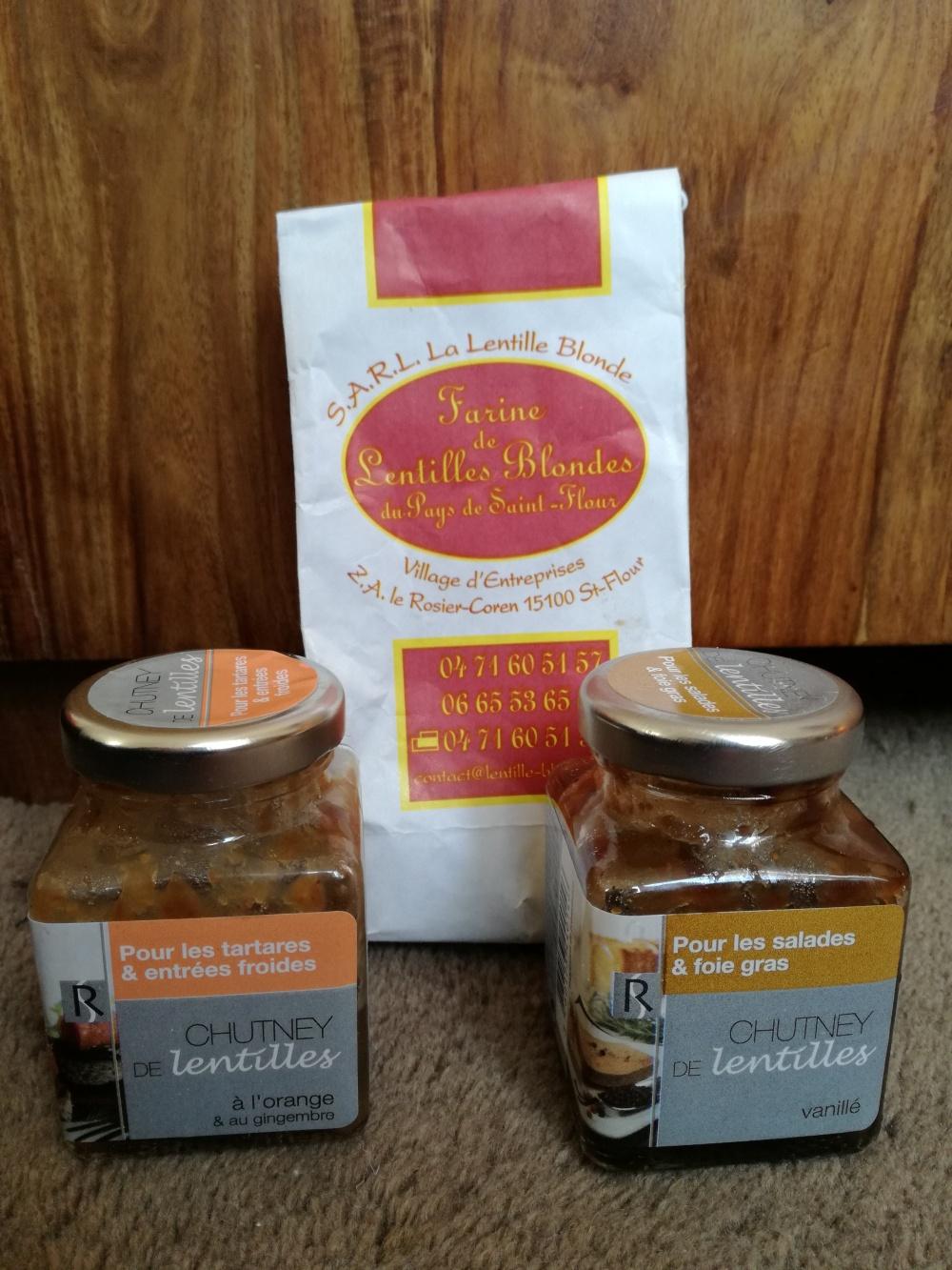 Farine de lentilles Blondes de saint-Flour, chutney de lentilles vertes du Puy
