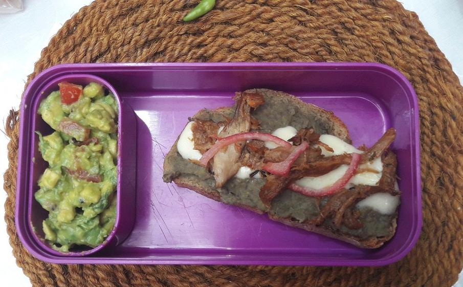 tartine auvergnate à la mexicaine, guacamole